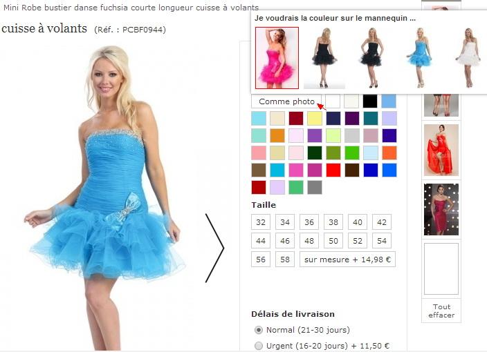 robe habillée pour fête et choisir la couleur sur le mannequin sur JMRouge.fr