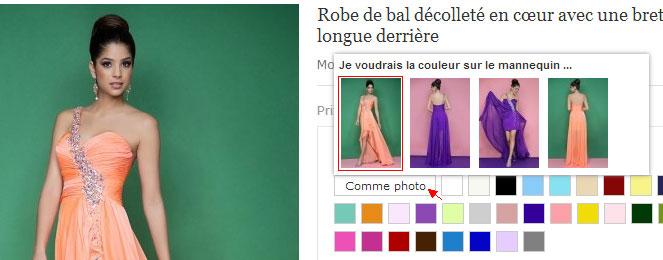 robe habillée pour fête et choisir la couleur sur le mannequin sur Robedesoireecourte.fr