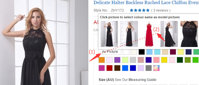 formal dress au & how to choose the photo color on the model on dressesmallau.co